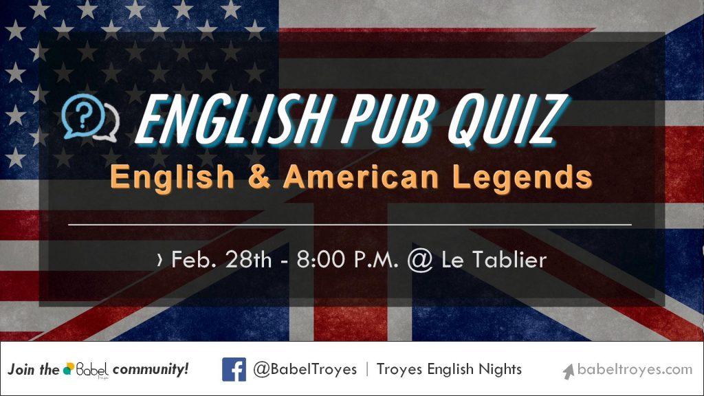 """<span style=""""color: #000"""">English Pub Quiz - English & American - February 28th</span>"""